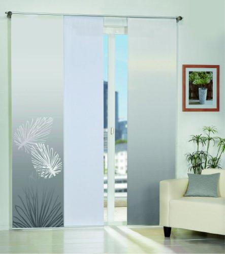 Home Fashion 3er-Set Flächenvorhänge Capri, Deko-Stoff Blickdicht, inkl. hochwertigem Zubehör, (grau)