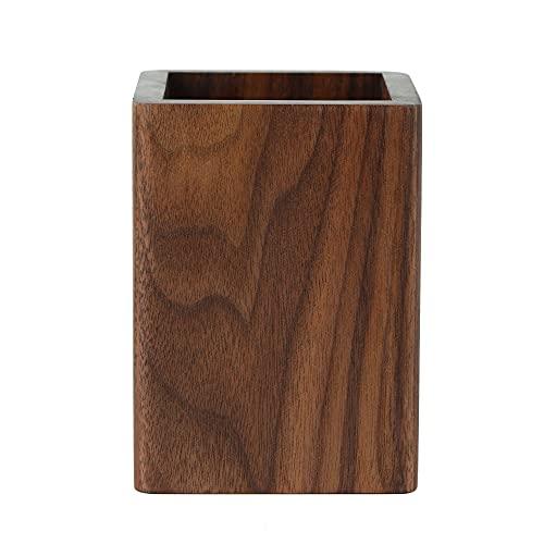 ペン立て 木製 ペンスタンド 筆立て 卓上 文具収納 箸立て 天然木 (ウォールナット)