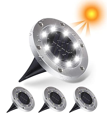 JWTPRO Focos solares LED de exterior IP65, impermeables, 4 unidades de 800 mAh, luces solares para jardín, 8 LED, lámparas de jardín de tierra, recargables, focos solares de jardín, blanco frío