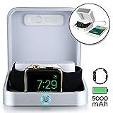 Sumato WatchBox [Boite Batterie De Recharge pour Apple Watch 5 4 3 2 1 MFI Certification 5000mAh Power Bank pour Recharger iWatch & iPhone (Argent)