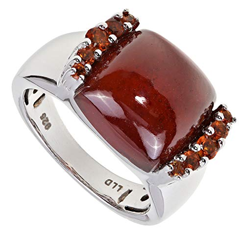 La Luna Design Damen-Ring Sterling-Silber 925 rhodiniert Hessonit RW18