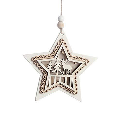 ZXXFR Kerstmis decoratie hanger, pentagram hout licht tot kerstmis hanger oplichtend Xmas Tree Drop Ornament vakantiehuis verlichting voor kerstmis party decoratie