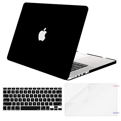 MOSISO Case Only Compatible with Older Version MacBook Pro 15 inch Model A1398 with Retina Display (2015 - end 2012 Release), Plastic Hard Shell & Keyboard Cover & Screen Protector, Black