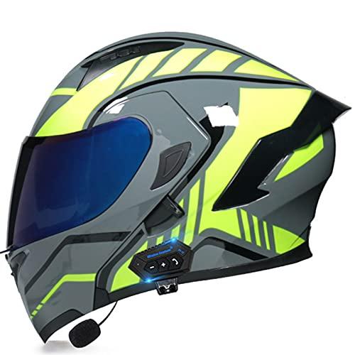 Casco Modular Para Motocicleta, Con Sistema De Comunicación De Intercomunicador Integrado Mp3 Integrado Con Bluetooth Auriculares Con Altavoces Aprobados Por DOT Con Visera Doble K,XL