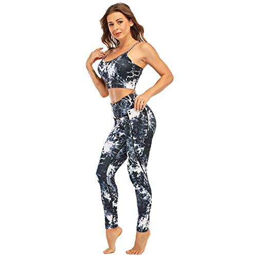 Women's Yoga Outfit Yoga Pants with Pockets and Yoga Bra Set Workout Activewear (BK2, L)