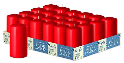 Hyoola Red Pillar Candles - Candele a pilastro non profumate, 5 x 10 cm, confezione da 24