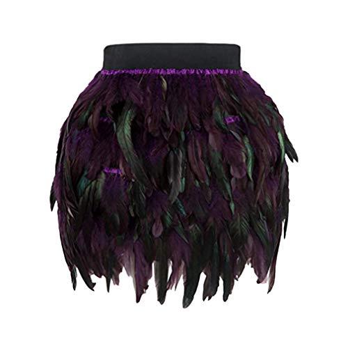 Yying Cisne Negro Falda de Plumas Mini Longitud Totalmente Doble Capa Tela Forrada Falda de Plumas para Evento de Fiesta Plumage Plume Falda XL púrpura