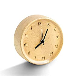 LINGSFIRE Vintage Wood Alarm Clock with Roman Numerals Retro Alarm Clocks for Bedroom 4.5 Inch Battery Operated Wind up Wooden Alarm Clock for Home Office Decoration