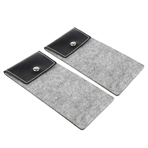 P Prettyia Pack of 2 Portable Lightweight Spectacle Sunglasses Pouch Cases Storage Bag - Grey, 18.5x9x0.5cm