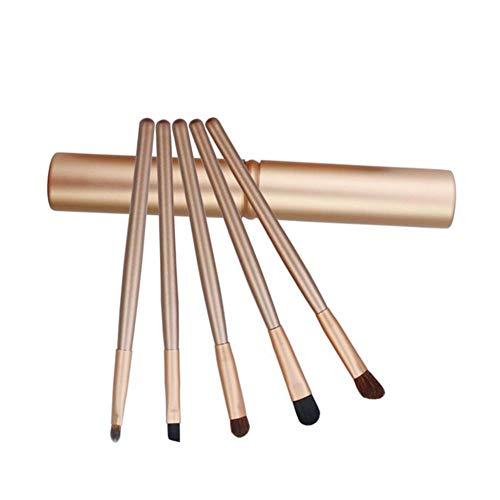 Sets de pinceaux de Maquillage 5 Pinceau De Maquillage pour Les Yeux Ensemble Seau Brosse Poney Ombre À Paupières Brosse Outils De Beauté Mini Portable Brosse De Beauté (Color : Gold)