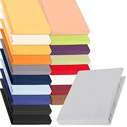 aqua-textil Pur Jersey Spannbettlaken 120x200-130x220 cm Silber grau Wasserbett Boxspringbett 160g/qm Mako Baumwolle