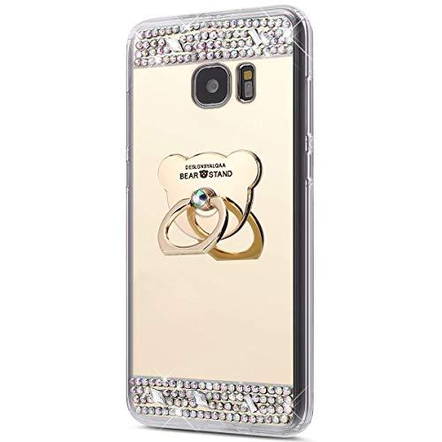 Surakey Cover Samsung Galaxy S7 Edge, Specchio Silicone Morbido Cover con Anello Supporto Bling Strass Glitter Diamante Lusso Mirror Case Ultra Sottile Protettiva Custodia per Galaxy S7 Edge,Orso Oro