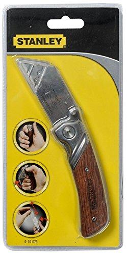 Stanley Klappmesser (mit Holzhandgriff, Quick-Release, mit Allzweck-Hakenklinge, Taschenclip, robust) 0-10-073