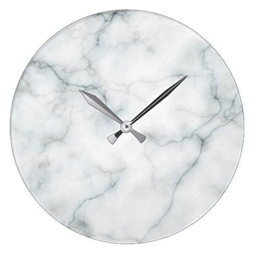 Weiße Marmor-Wanduhr, aus Holz, für das Wohnzimmer, nursety Wanduhr, für Küche/Schlafzimmer, 30cm