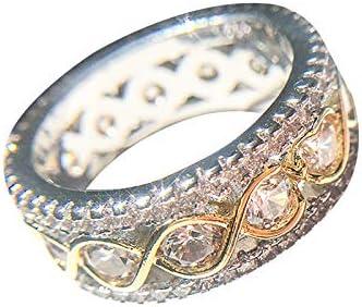 Diamond Wedding Band Vintage Rose Gold Full Eternity Antique Engagement Stacking Ring Crystal product image