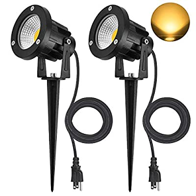SanGlory 7W LED COB Landscape Spotlights, IP65 Waterproof Garden Landscape Lighting with 6.5ft/2M UL LISTED Outdoor Rubber Wire and US Plug, Warm White 3000K Outdoor Spotlights Pathway Lights, 2 Packs