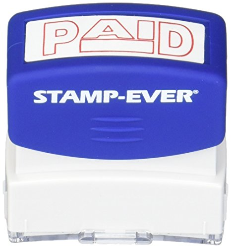 Stamp-Ever Pre-Inked Message Stamp, Paid, Stamp Impression Size: 9/16 x 1-11/16 Inches, Red (5959)