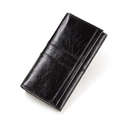 Yuhang Mme Cuir Forfait De Téléphone Portefeuille d'embrayage Titulaire du Passeport Titulaire De La Carte Femme Et Pratique (Color : Black, Size : M)