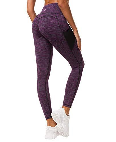 QUEENIEKE Damen Yoga Leggings Mesh Mittlere Taille 3 Handytasche Gym Laufhose Farbe Violett Space Dye Größe M(8/10