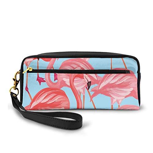Estuche de piel sinttica pequea,Patrn de pjaros tropicales flamencos coloridos exticos animales naturaleza ilustracin,Bolsa de maquillaje bolsa