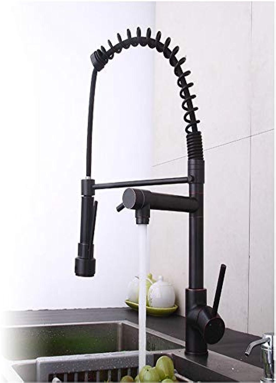 KUNHAN Küchenarmatur Frühling Küchenhahn Ziehen l Reiben Bronze Doppel Mund 360 Drehenden Waschbecken Wasserhahn Heies Und Kaltes Wasser 2 Aus Wasserhahn