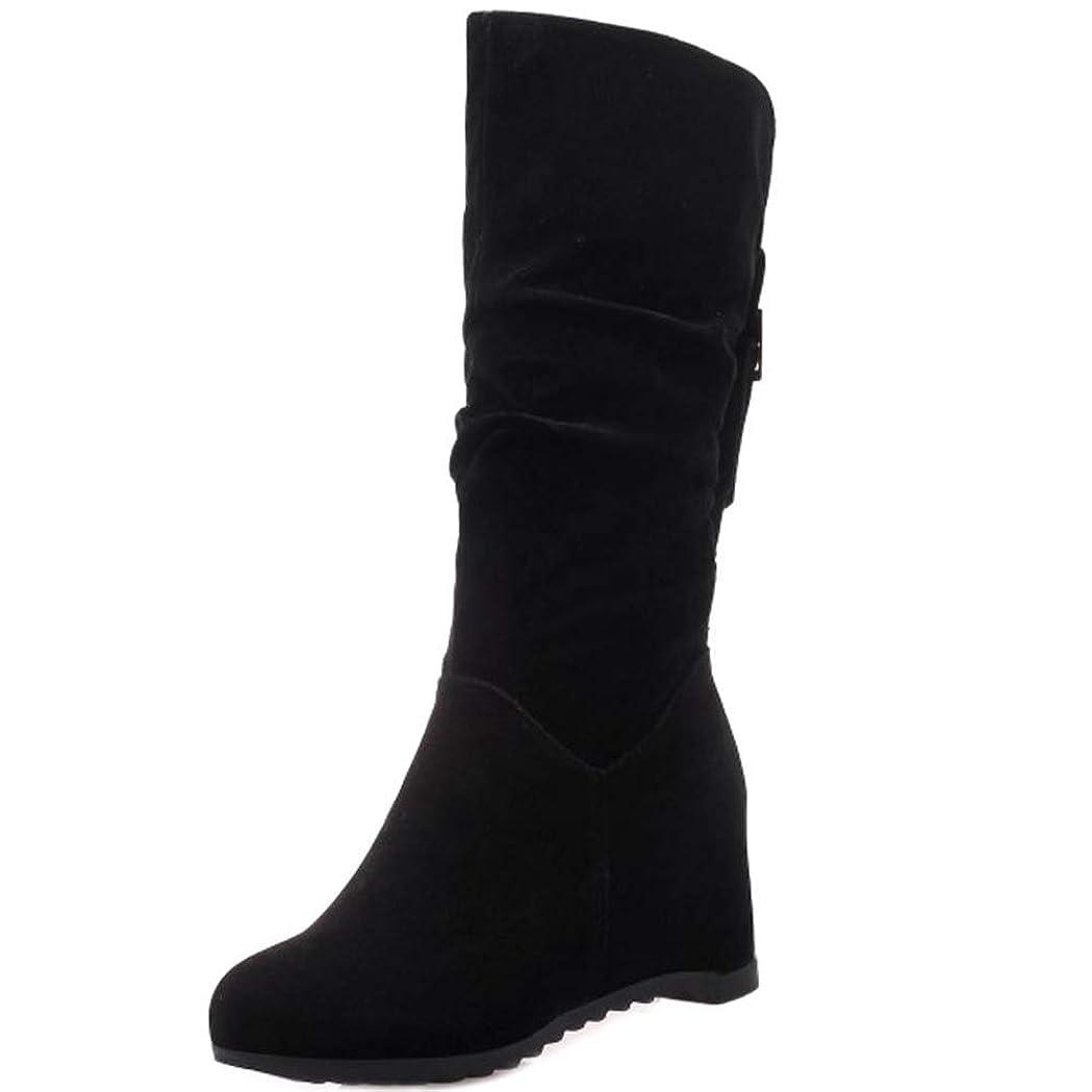 うまくいけば付ける征服[Unm] レディーズ ファッション くさび かかと Slouch ブーツ