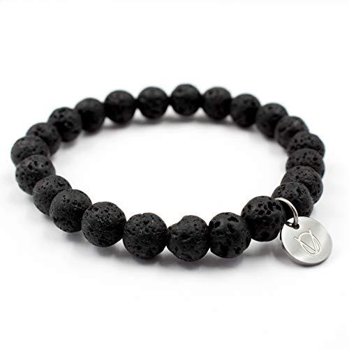 OLE VILLADIS | Naturstein Perlen Armband für Herren und Damen aus marmoriertem Gestein mit elastischem Gummiband | 8 x 185 mm (Costa Vesuvio)