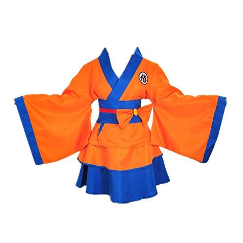 ULLAA Anime Son Goku Disfraz de Cosplay Vestido de Kimono japonés Trajes Yukata Falda Linda Ropa de Carnaval de Halloween