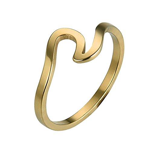 Damen Ringe, Welle Ring Ehering für Frauen Verlobungsringe Freundschaftsringe Schmuck Zubehör Roségold Gold Silber Engagement (Gold, 62 (19.7))