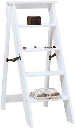 Escalera Plegable de Madera de 5 Pasos Ligero portátil para niños Adultos Multiusos para el baño