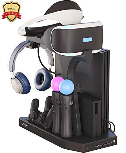 FiSound PSVR PS4・PS4Pro ・PS4Slim多機能縦置きスタンドPlayStation4ワイヤレスコントローラーとPlayStation moveモーションコントローラー充電スタンドPS4充電器VRゴーグル+ヘッドセット+DUALSHO