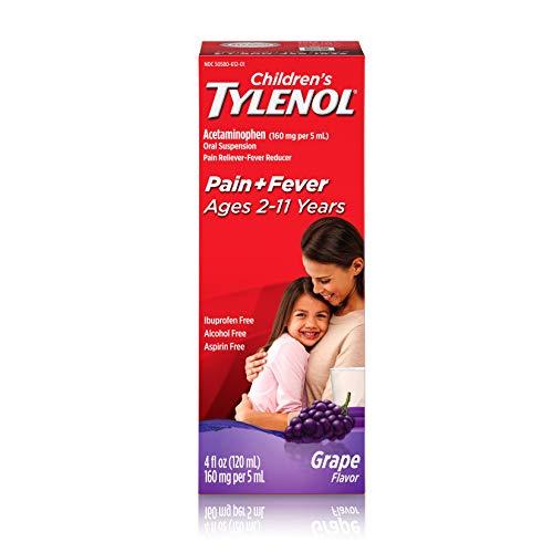 Children's Tylenol Oral Suspension Medicine, Acetaminophen Pain Reliever & Fever Reducer for Cold + Flu Symptoms & Sore Throat, Aspirin-, Ibuprofen- & Alcohol- Free, Grape, 4 fl. oz