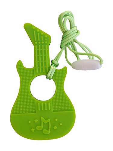 Mordedor de Silicona con Forma de Guitarra Chupete para Dentición Masticable Sin BPA con Cordón y Broche de Separación, 7 Colores (Verde)