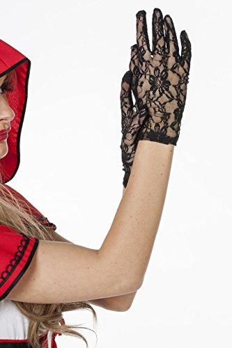 Jannes 52010 Elegante Spitzen-Handschuhe für Damen viktoriansch Barock Einheitsgröße Schwarz