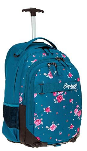 Trolley Mädchen Schultrolley Elephant Hero Signature Schulranzen Schultasche Trolly Rucksack 12800 Auswahl (Blue Flower (Blau/Rose))