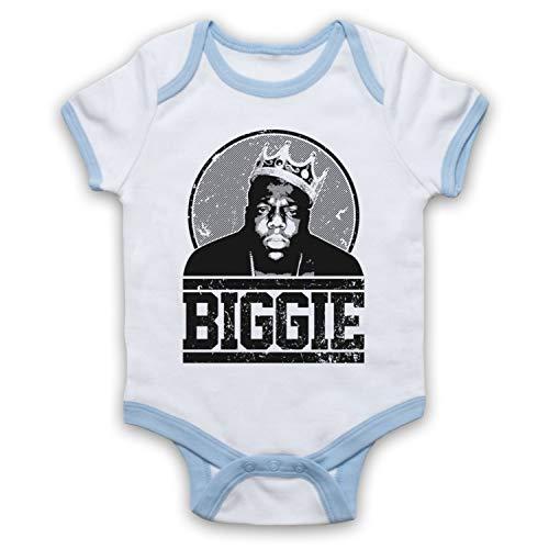 The Guns Of Brixton Notorious BIG Biggie Tribute Bébé Barboteuse Bodys, Blanc & Bleu Clair, 3-6 Mois