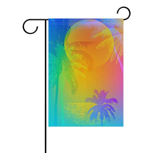 Nijio Rainbow Summer Ocean Sea Beach Tropical Palm Trees Garden Yard Flag Banner for Outside House Flower Pot Double Side Print 40 x 28 Inch