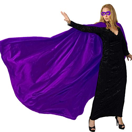 Men & Women's Superhero-Cape or Cloak with Mask for Adults Party Dress up Costumes (Purple)