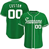 Custom Baseball Jerseys Personalized Basketball Crossover Basketball Shirts Hip Hop Clothing for Men Women (Green White)