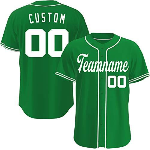 Custom Baseball Jerseys Personalized Basketball Crossover Basketball Shirts Hip Hop Clothing for Men Women (Green White)