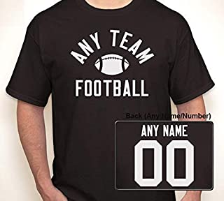 (ANY TEAM) FOOTBALL WITH OPTIONAL ANY NAME/ANY NUMBER JERSEY | T-shirt S-6XL (Adult), S-XL (Youth)