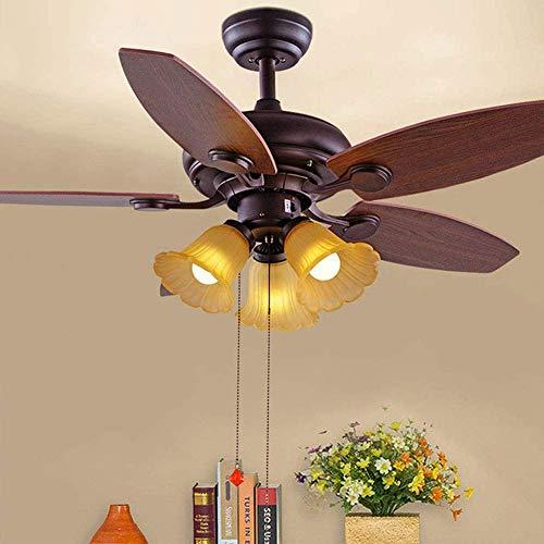 PLLP Ventilador de techo retro industrial de 42 pulgadas, E27 con iluminación, control remoto, ajuste de la velocidad del viento, candelabro marrón, para sala de estar, dormitorio, restaurante, estud