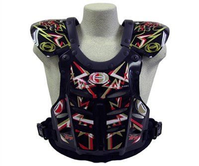 HRP Flak Jak IMS RC Motocross Chest Protector Black Red Gold Roost Deflector (Large (145-190 lbs), red