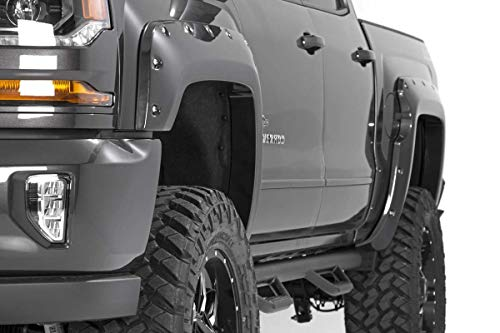 Rough Country Pocket Fender Flares (fits) 2016-2018 Chevy Silverado 1500 | 5.8 FT Bed | Unpainted Black | F-C11612