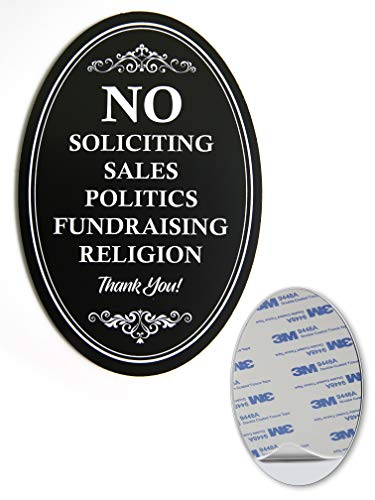 "No Soliciting Sign for Door | Metal with Sticker Oval 6"" x 4"" Heavy Duty Black DiBond Aluminum 