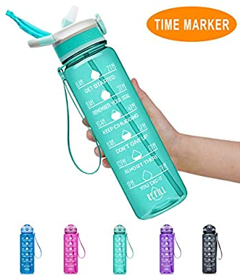 Fidus 32oz Leakproof Tritran BPA Free Water Bottle with Motivational Time Marker & Straw to Ensure You Drink Enough Water Daily for Fitness, Gym and Outdoor Sports-mint green