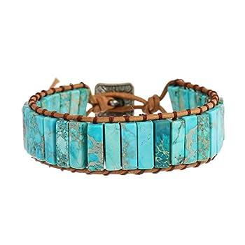 IUNIQUEEN Leather Chakra Handmade Imperial Jasper Wrap Adjustable Bead Bracelet  Turquoise Blue
