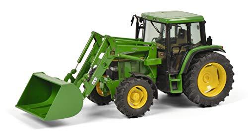 Schuco 450773300 6300 mit Frontschaufel und John Deere Aufkleber, Traktor, Modellauto, Maßstab 1:32, grün