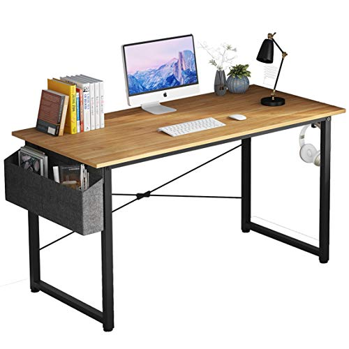 Home Office Computer Desk with Storage Bag and Iron Hook Study Writing Desk for Students Modern Style Laptop Table Workstation for SOHO (39', Natural)