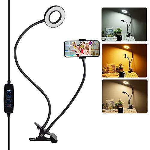 SOAIY 2in1 24LEDs Lampada pinza Lampada da lettura Luce Selfie con Supporto per Cellulare con Pinza 3 Modalità colore 360° Collo Regolabile Per Leggere,Studiare,Trucco, Live Stream